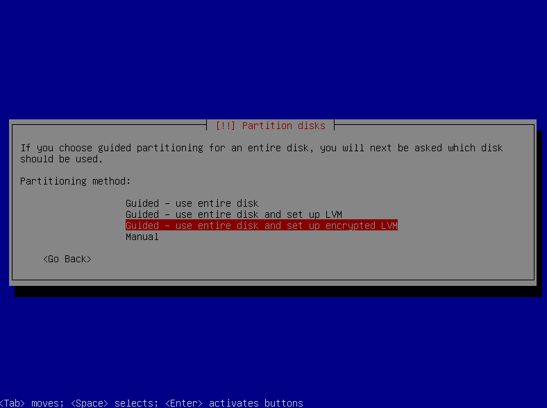 The Debian installer     disk partitioning menu