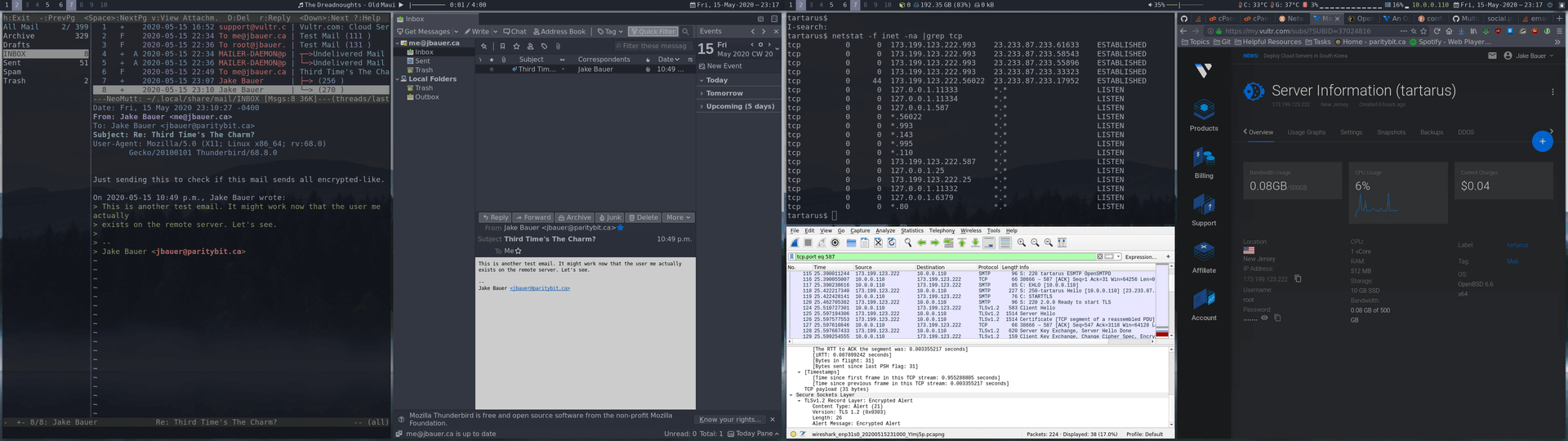 A screenshot of both of my     monitors with Neomutt, Thunderbird, Wireshark, SSH, and Firefox with Vultr     open while testing if email is working.