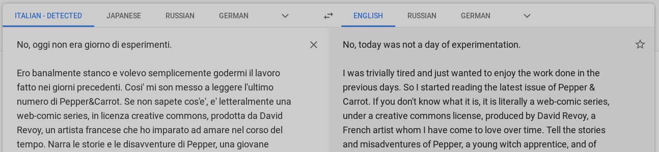 A screenshot     of Google Translate translating Italian text into English with near-perfect     accuracy.
